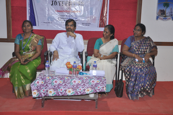 Department of French organized French cultural day (JOYFEST 2019) on 11th February 2019. Lecture on Activita`s Ludiques by Dr. Abarna Roy, Head, Department of foreign languages, Loyola College, Chennai.