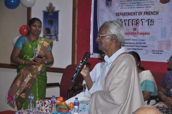 Department of French organized French cultural day (JOYFEST 2019) on 11th February 2019. Lecture on Activita`s Ludiques by Dr. Abarna Roy, Head, Department of foreign languages, Loyola College, Chennai